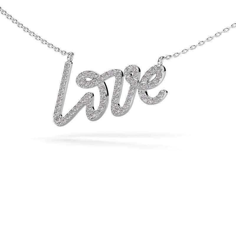 Hanger Love 925 zilver zirkonia 1 mm