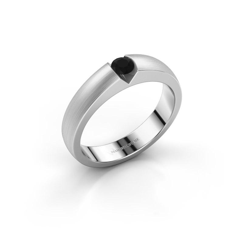 Verlovingsring Theresia 925 zilver zwarte diamant 0.18 crt