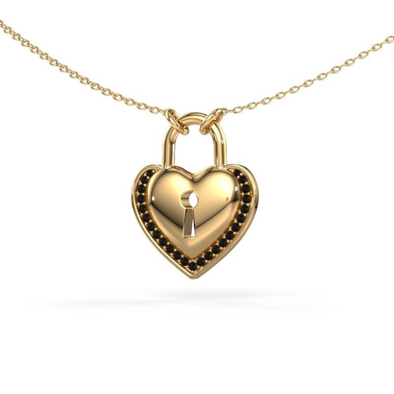 Halskette Heartlock 585 Gold Schwarz Diamant 0.138 crt