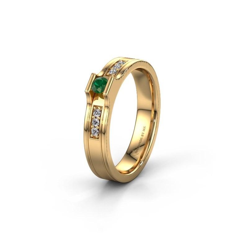 Trouwring WH2110L14A 585 goud smaragd ±4x1.7 mm