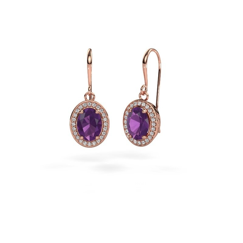 Drop earrings Latesha 375 rose gold amethyst 8x6 mm
