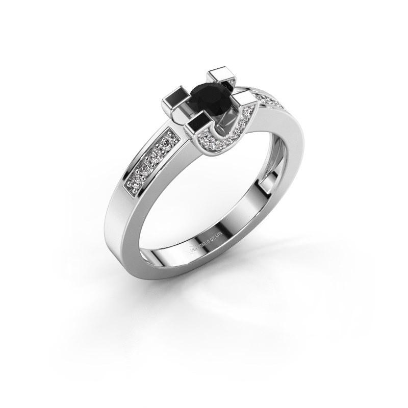 Verlovingsring Jasmijn 2 925 zilver zwarte diamant 0.46 crt