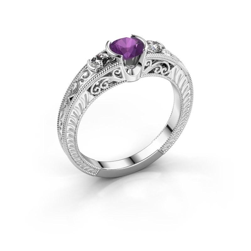 Promise ring Tasia 950 platina amethist 5 mm
