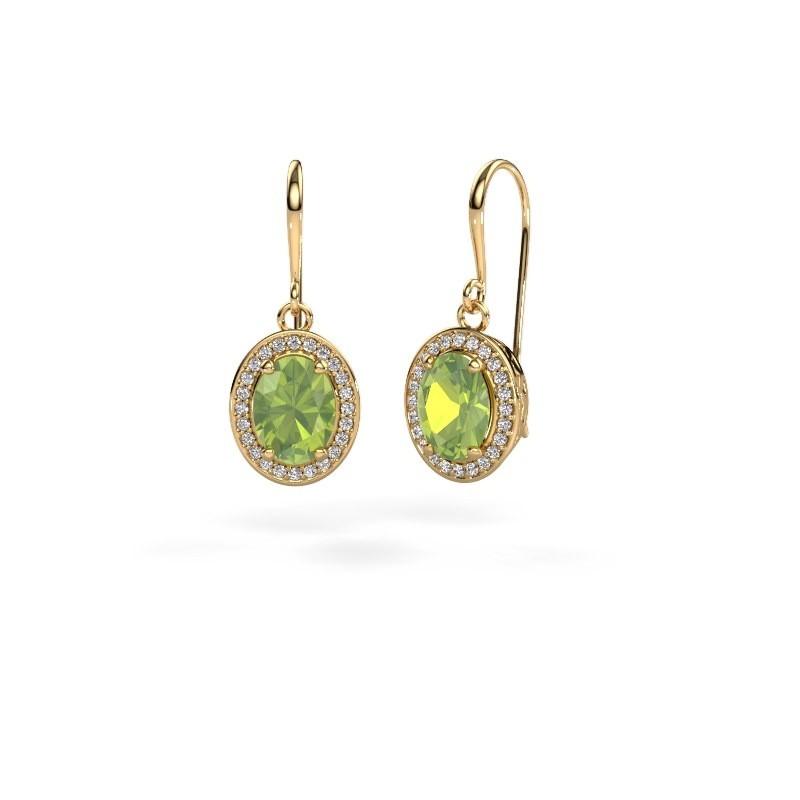 Drop earrings Latesha 585 gold peridot 8x6 mm