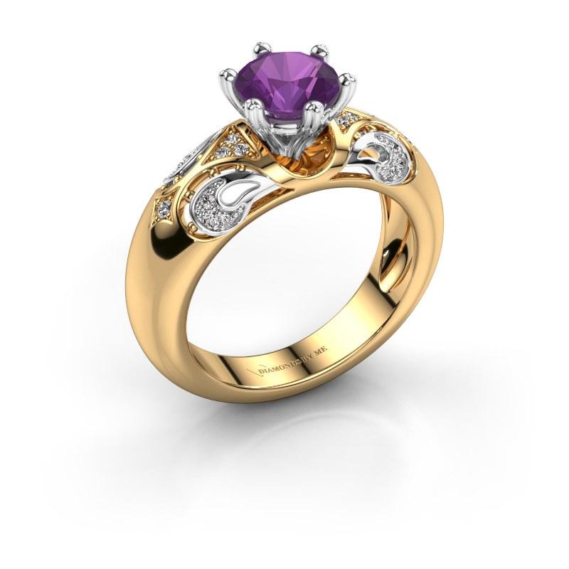 Ring Maya 585 goud amethist 6.5 mm