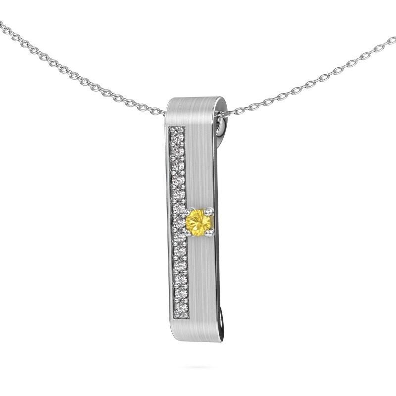 Halsketting Vicki 925 zilver gele saffier 3 mm