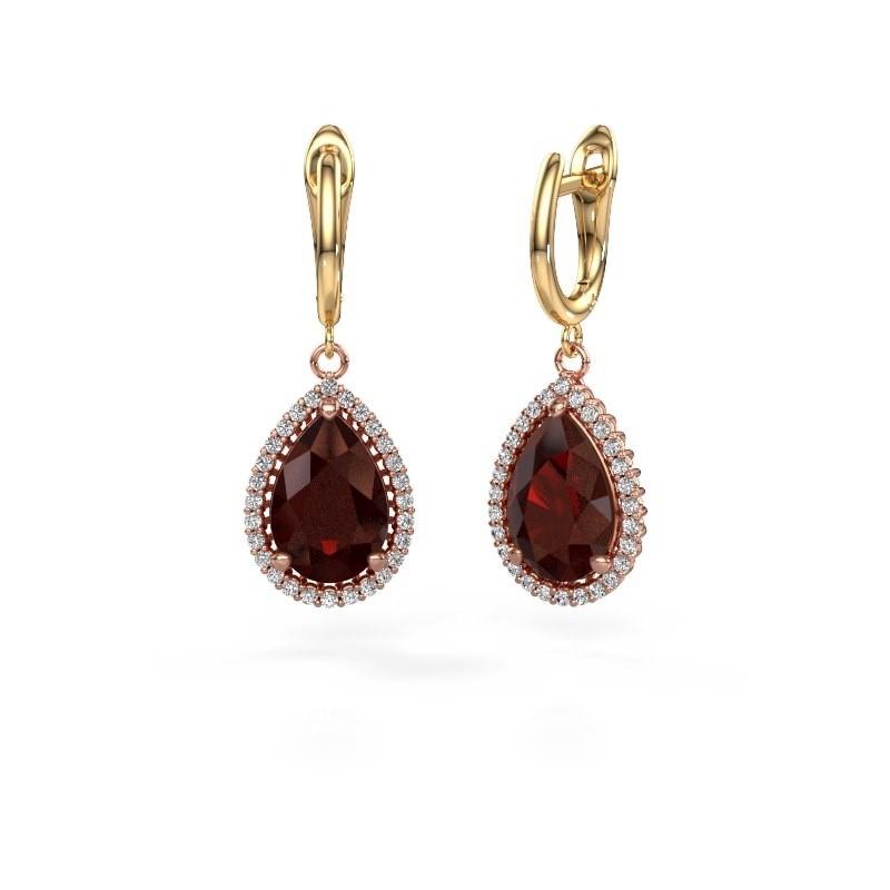 Drop earrings Hana 1 585 rose gold garnet 12x8 mm