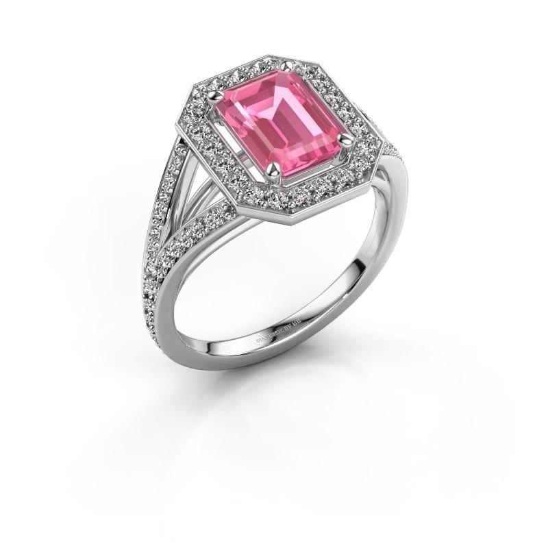 Promise ring Angelita EME 585 witgoud roze saffier 8x6 mm