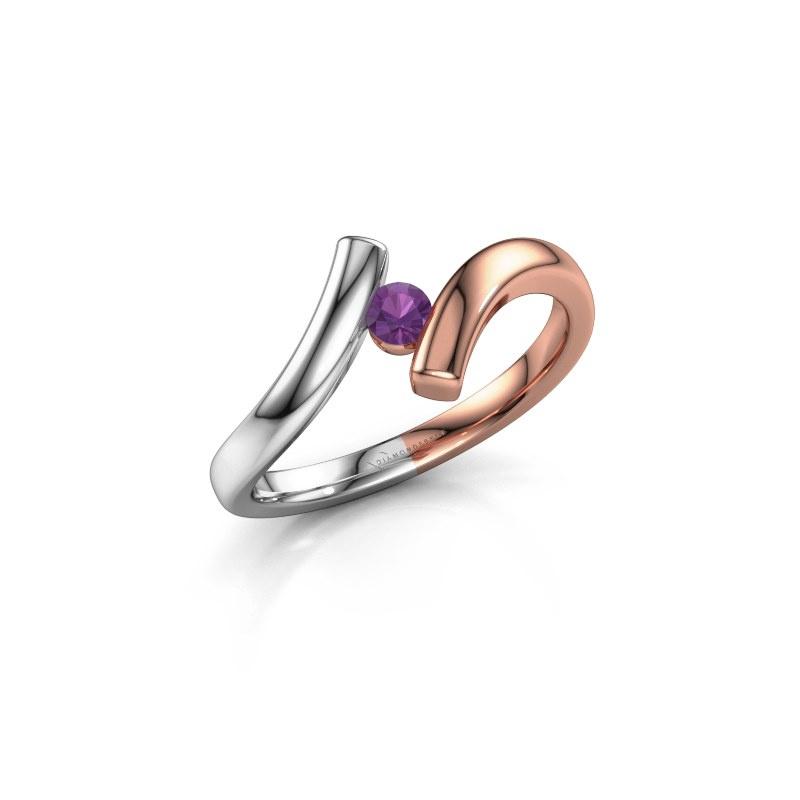 Ring Amy 585 rosé goud amethist 3 mm