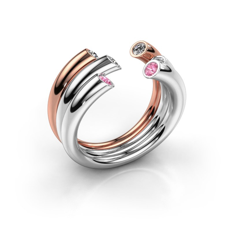 Ring Noelle 585 Weißgold Pink Saphir 2.4 mm