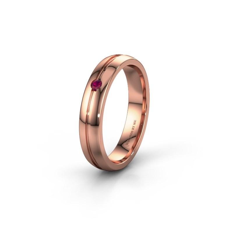 Trouwring WH0424L24A 585 rosé goud rhodoliet ±4x1.7 mm