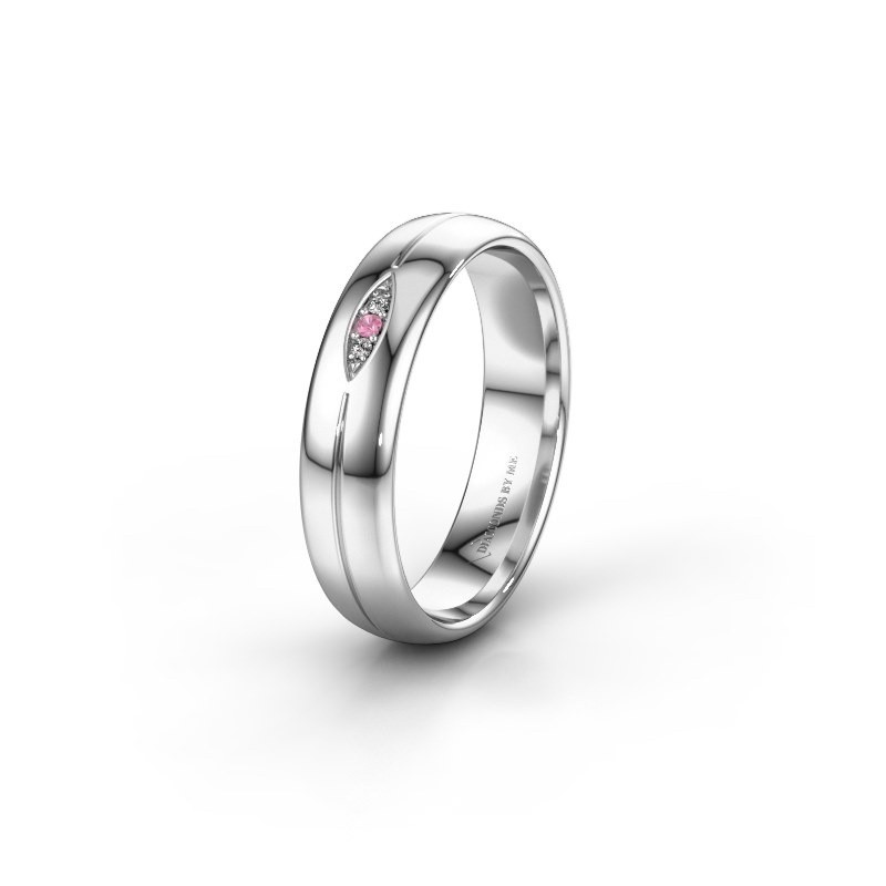 Wedding ring WH0219L35X 925 silver pink sapphire ±5x1.4 mm