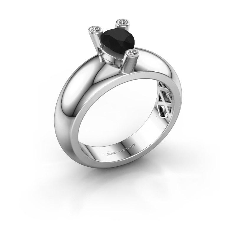 Ring Cornelia Pear 925 silver black diamond 1.00 crt