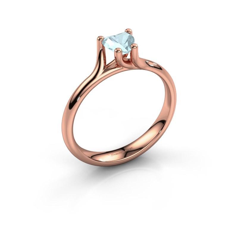 Engagement ring Dewi Heart 585 rose gold aquamarine 5 mm