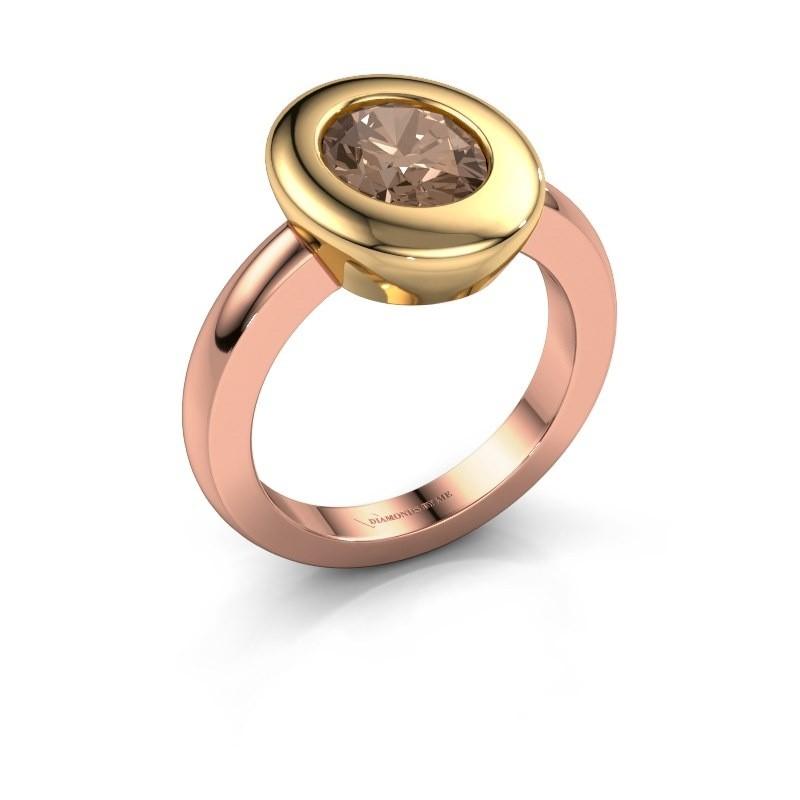 Ring Selene 1 585 rosé goud bruine diamant 1.80 crt