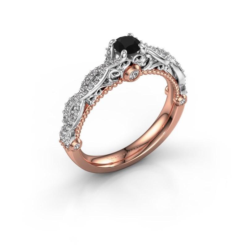 Verlovingsring Chantelle 585 rosé goud zwarte diamant 0.68 crt
