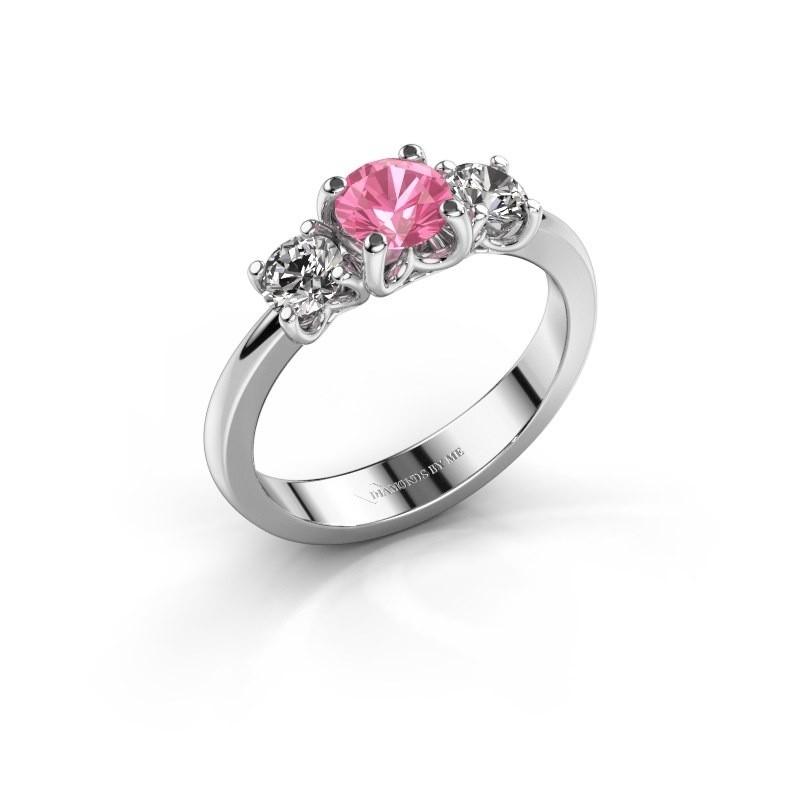 Verlovingsring Detra 585 witgoud roze saffier 5 mm