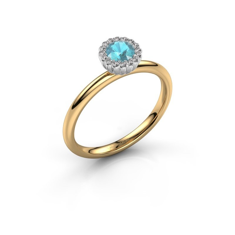 Engagement ring Queen 585 gold blue topaz 4.2 mm