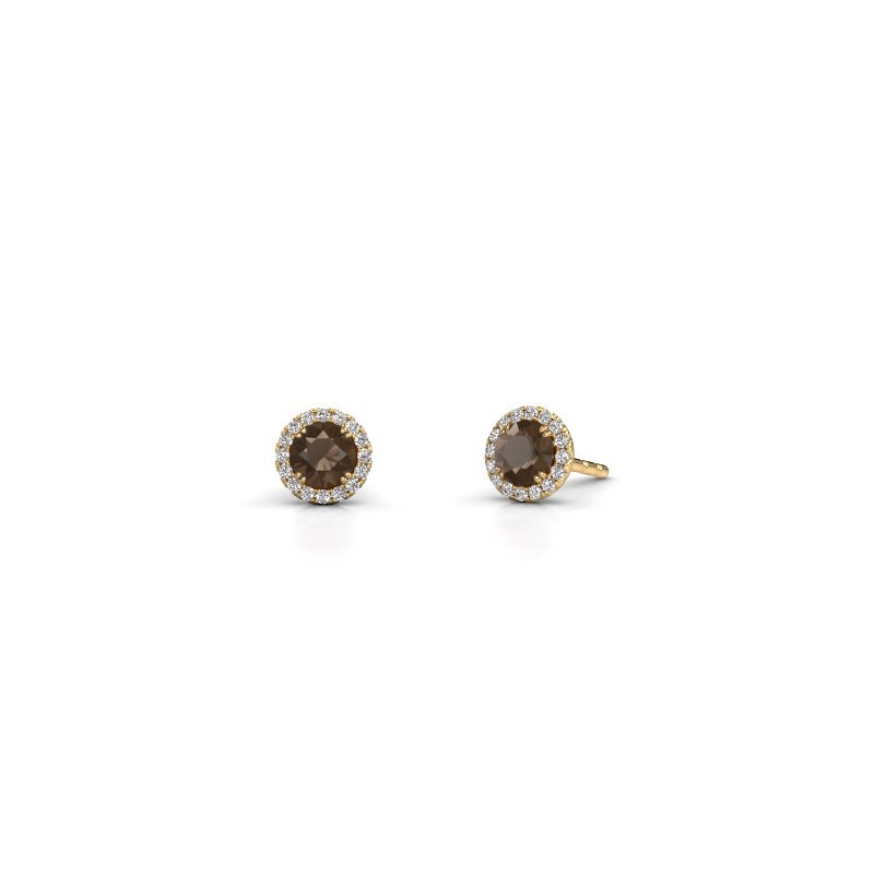Earrings Seline rnd 375 gold smokey quartz 4 mm
