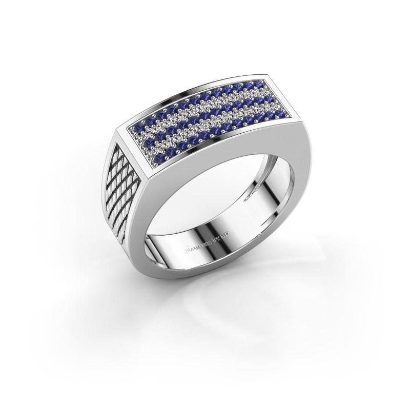 Heren ring Erwin 375 witgoud saffier 1.2 mm