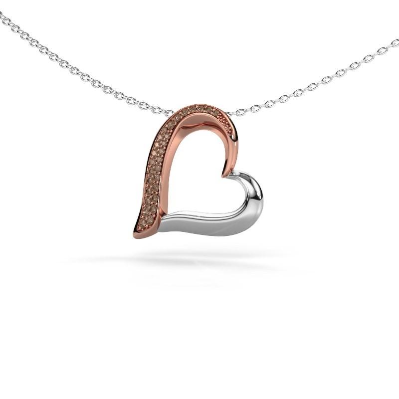 Halsketting Heart 1 585 rosé goud bruine diamant 0.134 crt