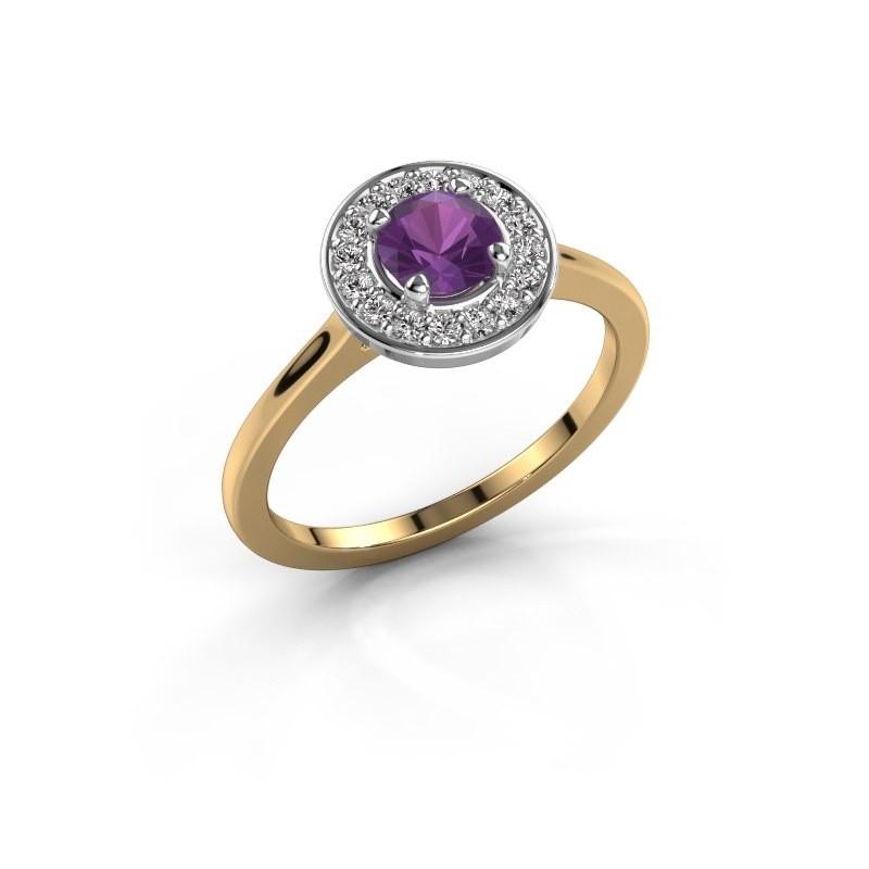 Ring Agaat 1 585 goud amethist 5 mm