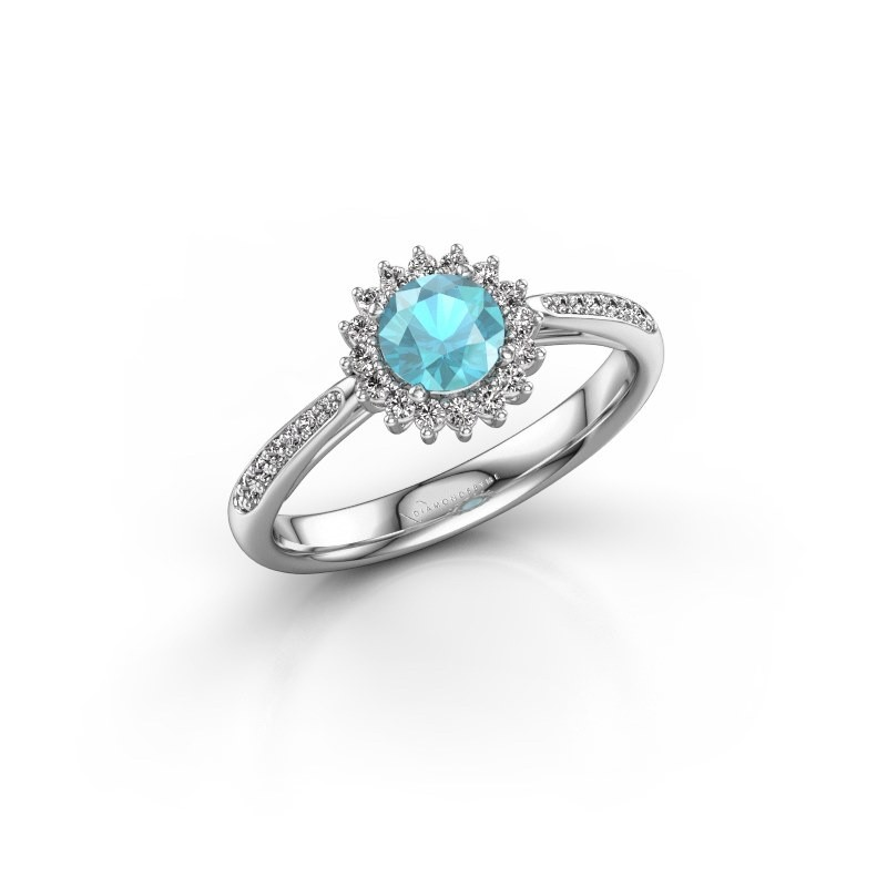 Engagement ring Tilly RND 2 585 white gold blue topaz 5 mm