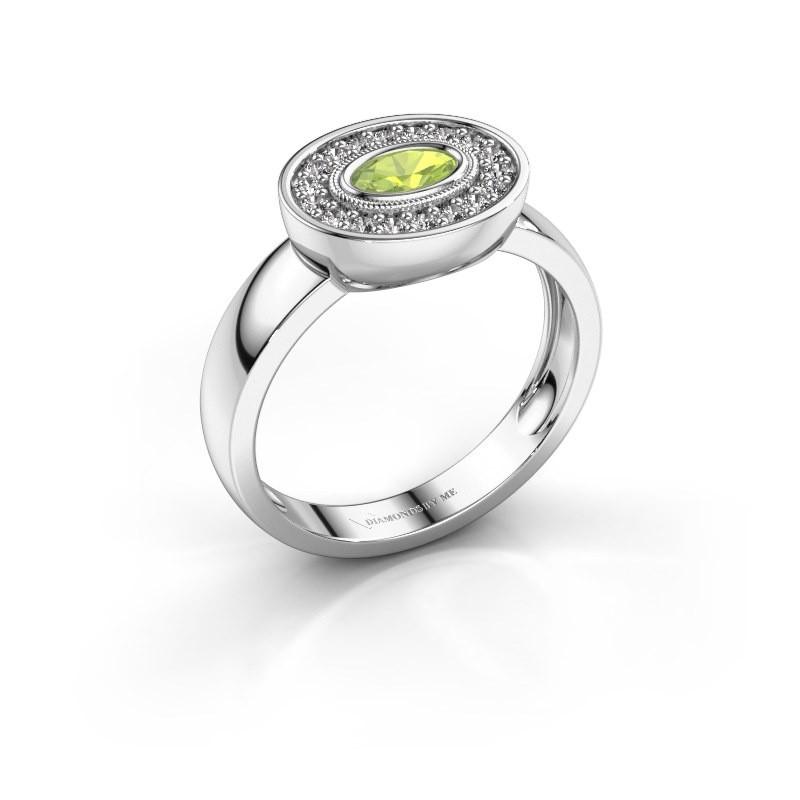 Ring Azra 585 white gold peridot 5x3 mm