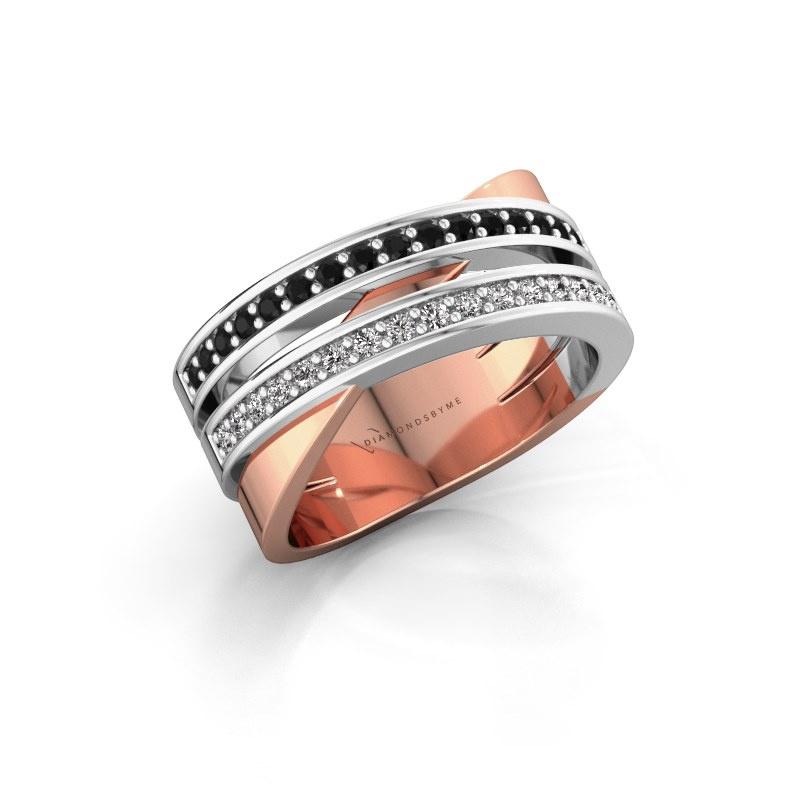 Ring Margje 585 rose gold black diamond 0.352 crt