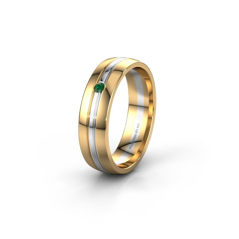 Wedding ring WH0420L25X 585 gold emerald ±5x1.5 mm