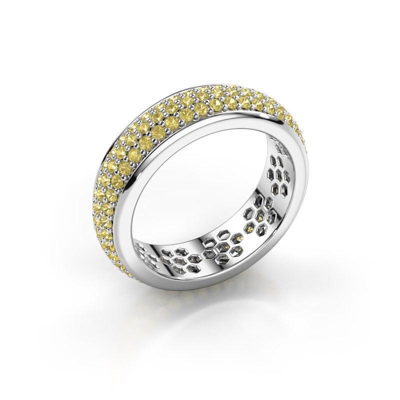 Ring Tara 585 witgoud gele saffier 1.3 mm