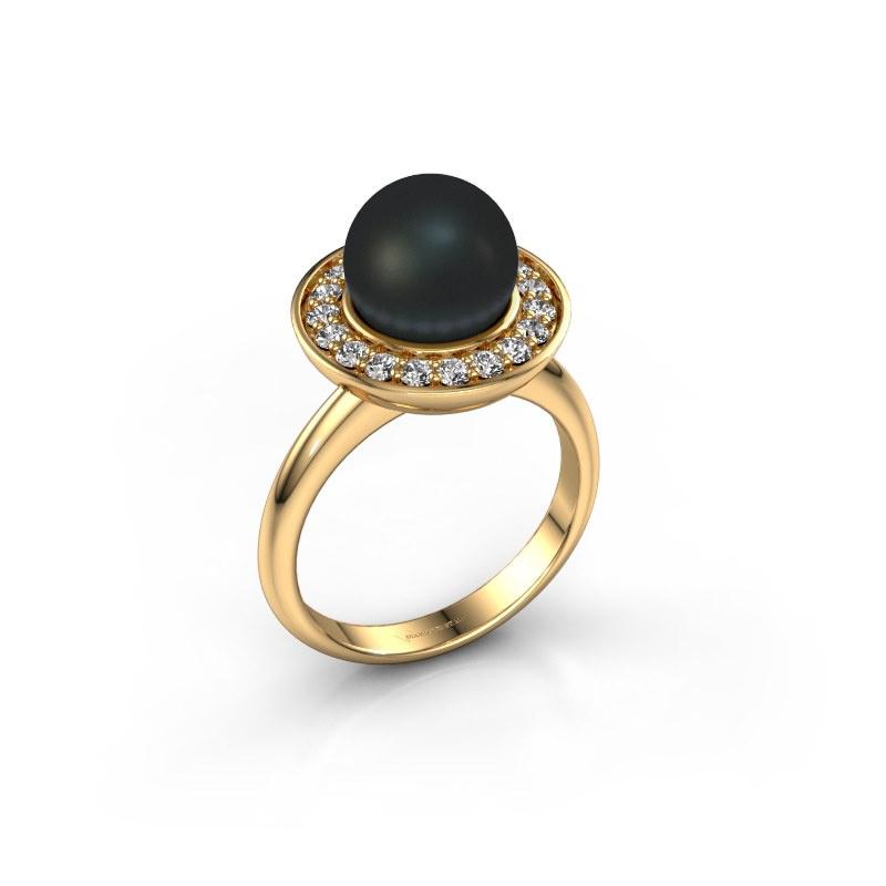 Ring Sarah 585 goud zwarte parel 9 mm