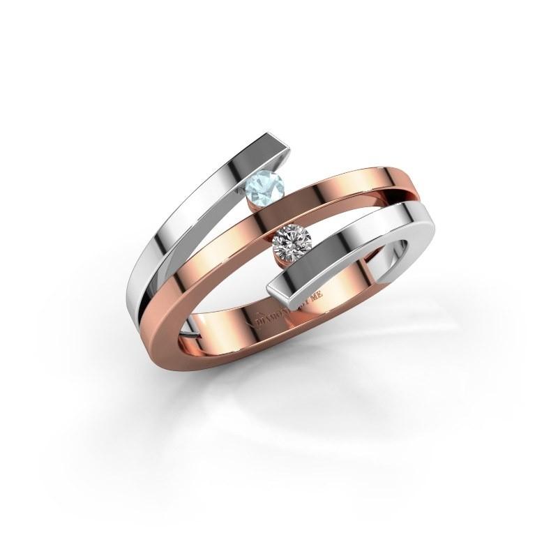 Ring Synthia 585 rosé goud aquamarijn 2.5 mm