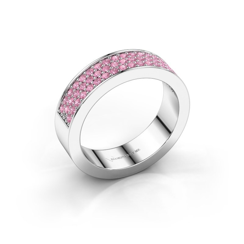 Ring Lindsey 4 585 white gold pink sapphire 1.3 mm