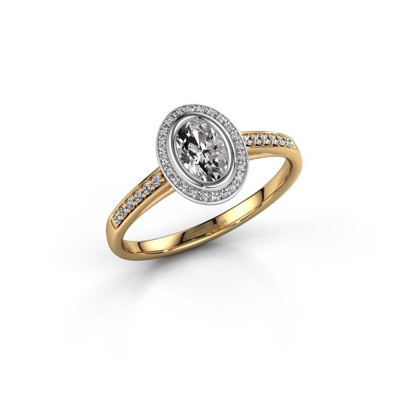 Engagement ring Noud 2 OVL 585 gold zirconia 6x4 mm