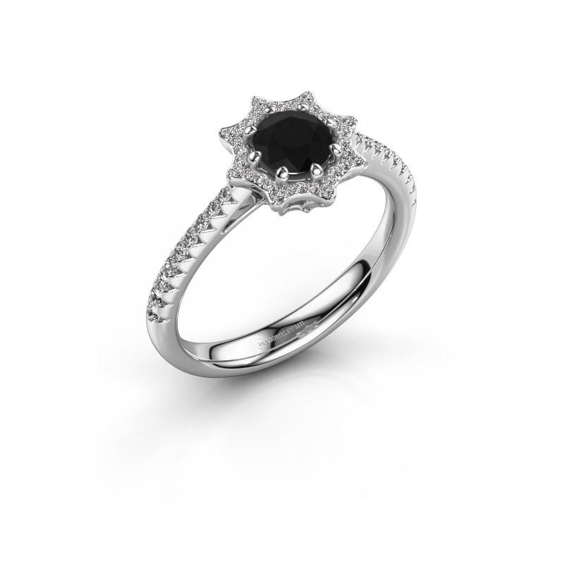 Aanzoeksring Zena 585 witgoud zwarte diamant 0.830 crt