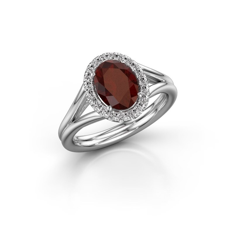 Engagement ring Rachele 1 950 platinum garnet 8x6 mm
