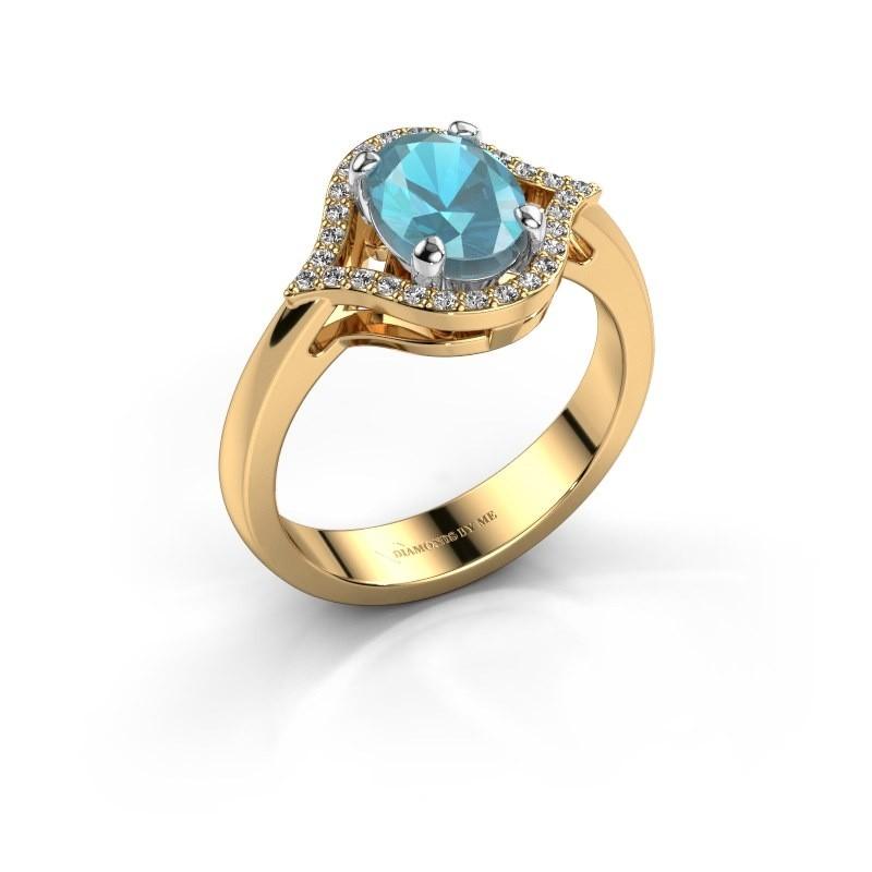 Ring Mendy 585 goud blauw topaas 8x6 mm