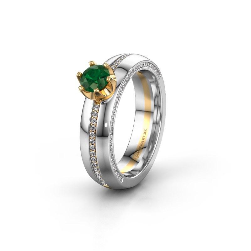 Huwelijksring WH0416L25E 585 goud smaragd ±5x2.6 mm