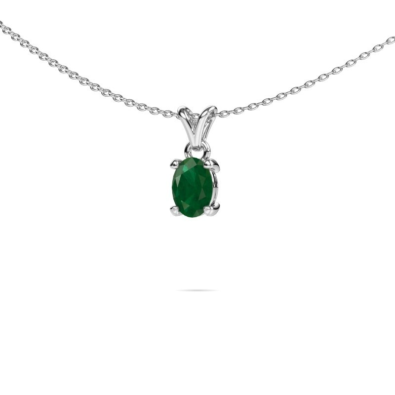 Ketting Lucy 1 585 witgoud smaragd 7x5 mm