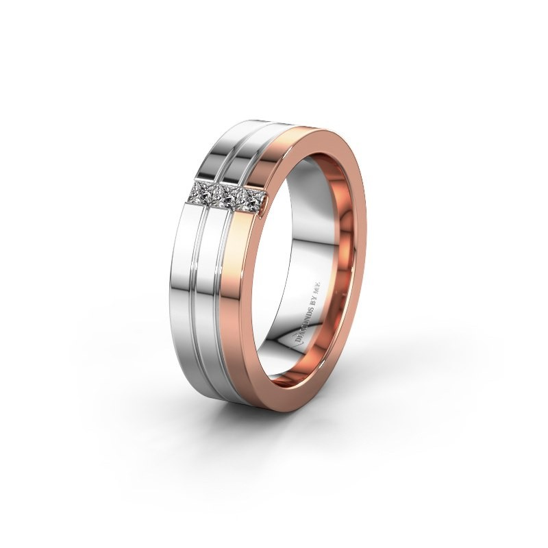 Trouwring WH0428L16BP 585 rosé goud diamant ±6x2 mm