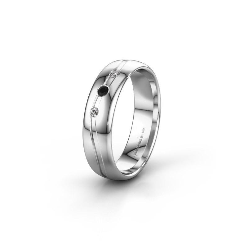 Friendship ring WH0907L35X 585 white gold black diamond ±5x1.4 mm