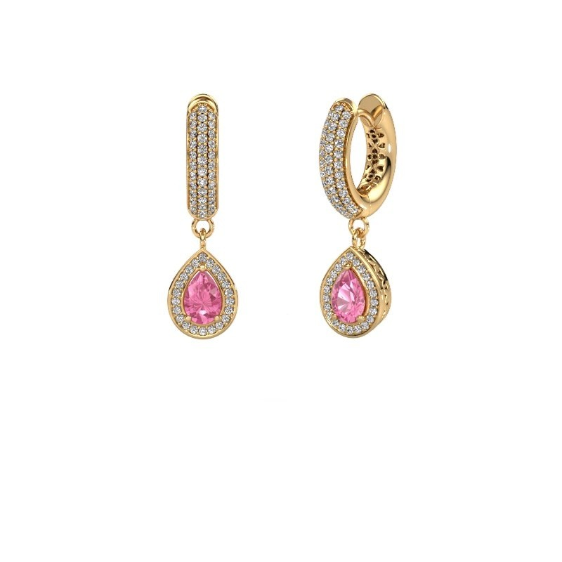 Drop earrings Barbar 2 585 gold pink sapphire 6x4 mm