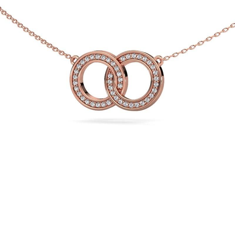 Ketting Circles 1 375 rosé goud diamant 0.23 crt