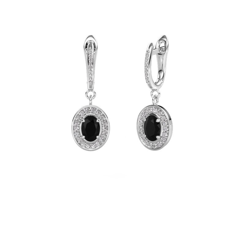 Oorhangers Layne 2 585 witgoud zwarte diamant 2.31 crt