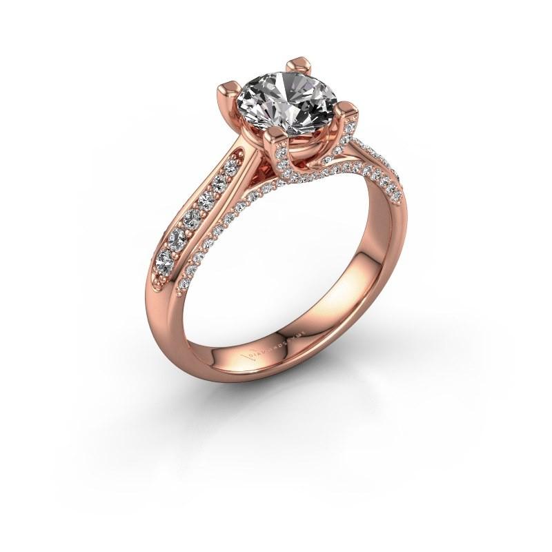 Verlovingsring Mia 3 375 rosé goud diamant 1.412 crt