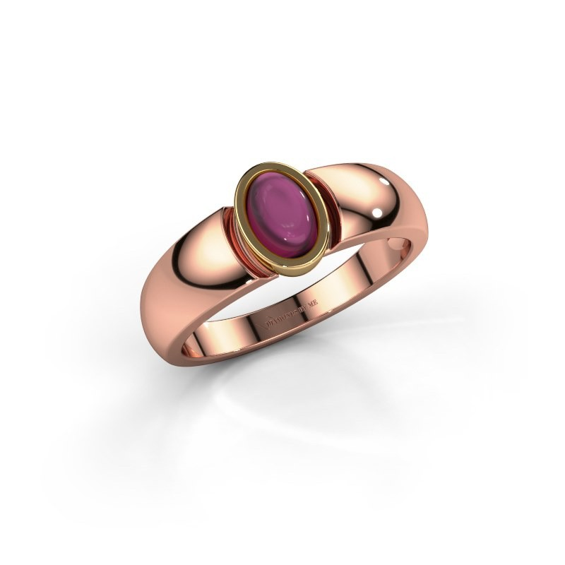 Ring Tonneke 585 rose gold rhodolite 6x4 mm