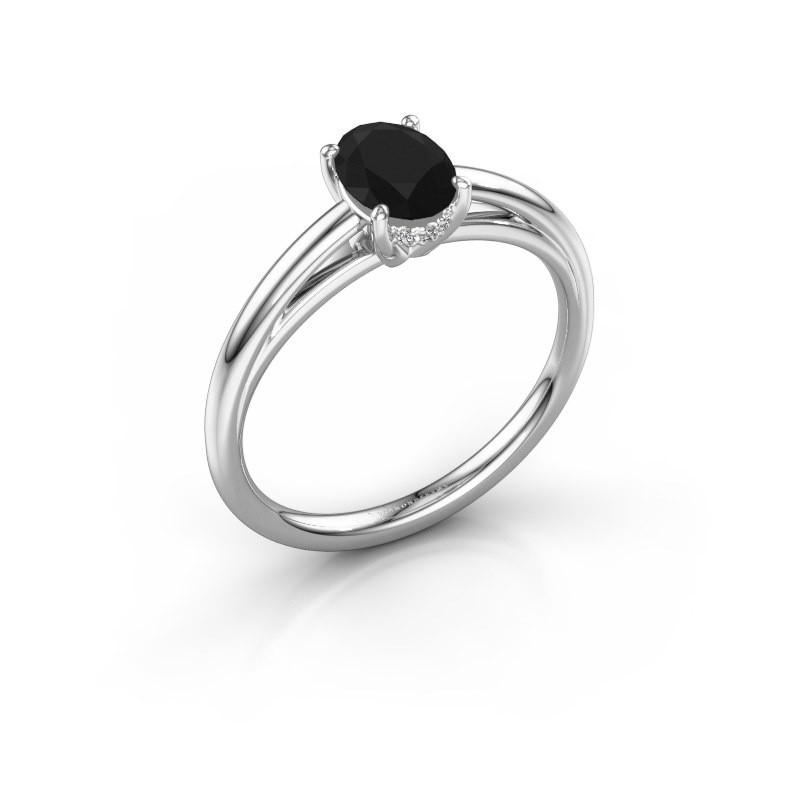 Verlovingsring Haley OVL 1 585 witgoud zwarte diamant 1.05 crt