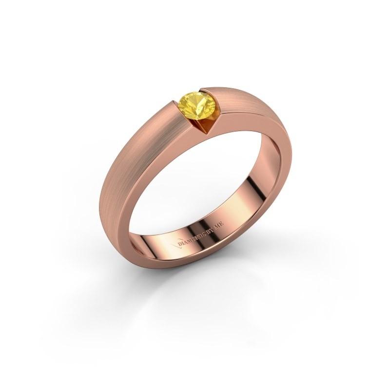 Verlovingsring Theresia 375 rosé goud gele saffier 3.4 mm