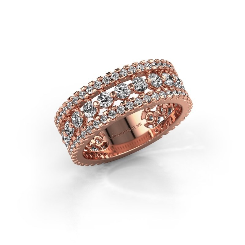 Engagement ring Elizbeth 2 375 rose gold zirconia 2.4 mm